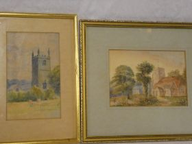 "Artist unknown - watercolours Study of Lansallos Church, 8"" x 5"" and a study of St Winnow, Polruan,"
