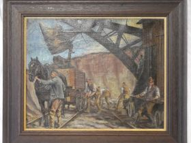 Artist Unknown - oil on canvas Figures working in a Cornish quarry,