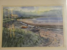 """Tony Williams - watercolour """"Boats at Bere Ferrers"""", labelled to verso,"""