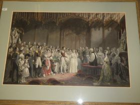 A pair of large coloured engravings depicting Queen Victoria's wedding and procession,