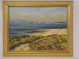 June Lethbridge - oil on board Isles of Scilly coastal scene, signed,