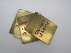 Four Midland Railway brass double sided lever plates - Starting To L&NW Line/ Signal From Sidings