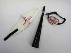 Two B.R. Lookout arm bands, enamel and plastic with Velcro and ACME lookout horn