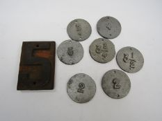 Assorted track cant numbers - 5, ¾, 3, 2, 3¾, 2,