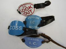 Four enamel arm bands marked B.R. Lookout, Coss, and two Person I.C.