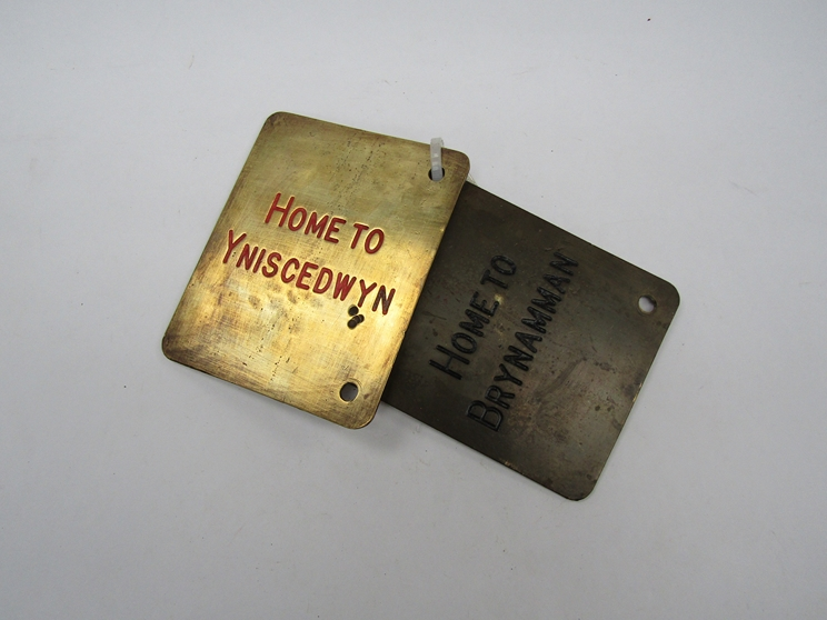 Two Midland Railway brass signal box lever plates Home to Yniscedwyn/ Signal From Down Goods To Up