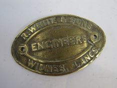 A brass R. White & Son Engineers plate with associated research