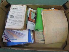 A box containing mixed railway ephemera to include magazines,