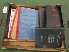 A box containing mixed B.R related rule books, regulations, driving instructions etc