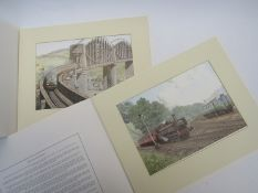 A box of railway related Michael Turner prints and mixed traffic diesel,