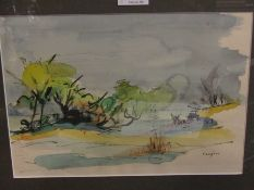 LUCETTE DE LA FOUGERE: (1921-2010) Watercolour of a pond in winter, signed lower right,
