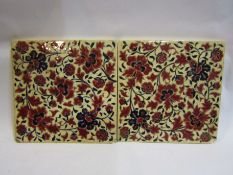 Two large Zsolnay tiles, 22cm x 22cm,