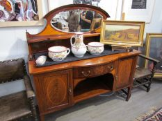 An Edwardian Maple & Co satinwood crossbanded mahogany breakfront mirror back sideboard,