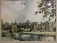 A watercolour of Dorchester Broughton Castle, signed lower left, framed and glazed,