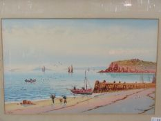 A watercolour of St Ives by RJ Pollard, showing shrimpers on the beach,