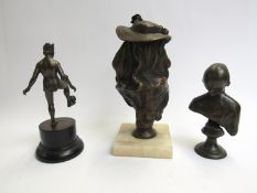 Three bronze figures, including two female busts and an Eastern ball balancer, 24,