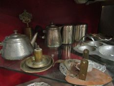 Assorted metal wares including hammered pewter,