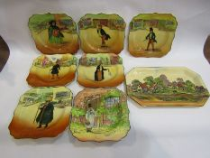 Seven Royal Doulton 'Dickens-Ware' plates and tray
