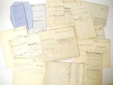A packet of 14 vellum and other indentures 1850's-1920's, all Attleborough related,