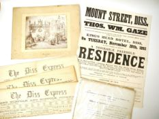 A packet containing Diss Express Newspapers 1867, 1868, 1907, 1931; a sale poster Mount Street Diss,
