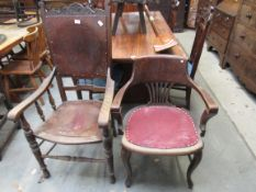 A 1920's plywood seated carver chair and a circa 1900 oak captains desk chair