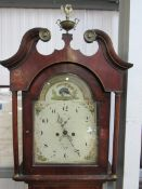 An early Victorian 8 day arch top painted dial grandfather clock with keys, weights and pendulum,