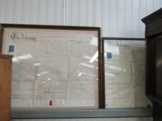 Two 19th Century Indentures framed and glazed