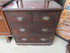 A Victorian line inlaid mahogany chest of two short over two long drawers,