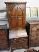 A George III oak bureau with removable bookcase top 205t x 80cm wide