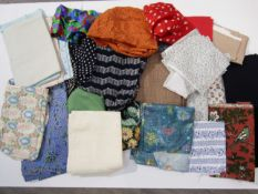 A quantity of dress making fabric remnants, various designs and periods including cottons,