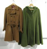 A pea green wool cape with hood and a 1960's faux tan suede gents car coat.