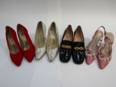 Four pairs of shoes including Harvey Nichols 1960's red velvet court shoes,