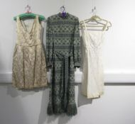 Three 1960's cocktail dresses including a knitted blue and gold metallic thread full length dress