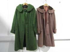 Two 1950's ladies coats in mushroom and green