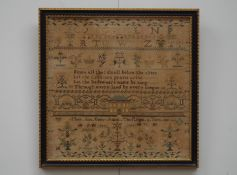 An early Victorian sampler worked by Mary Ann Basey, August 8th Aged 12, dated 1839,