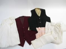Two gent's wool single breasted waistcoats in burgundy and bottle green and five items of women's