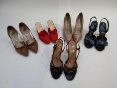 Five pairs of 1960's shoes, Fortnum & Mason's red fabric mules with silk bow, Rayne pink stilettos,