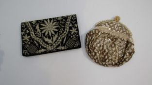 A black velvet and silver thread purse, made in India and a gold sequined evening bag,