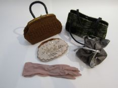 Two handbags, coffee coloured crochet with a green tweed wool effect,