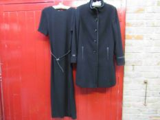 A Basler black full length cocktail dress with short sleeves and belt and a Windsmoor black wool