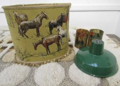 A 1960's cotton cylindrical lampshade depicting horses and ponies,