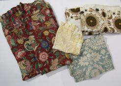 A quantity of 1950's and 1960's fabric remnants and a pair of Linen Union curtains
