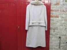 Jean Patou Paris classic light beige wool two piece dress and jacket suit,