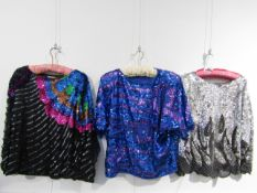 Three early 1980's heavily sequined tops,
