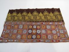 A gold thread embroidered part mantle runner with an Indian example (2)