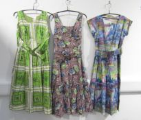 Three various 1950's cotton day dresses