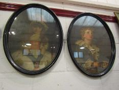Two Victorian oval Pears prints including Bubbles, framed and glazed,