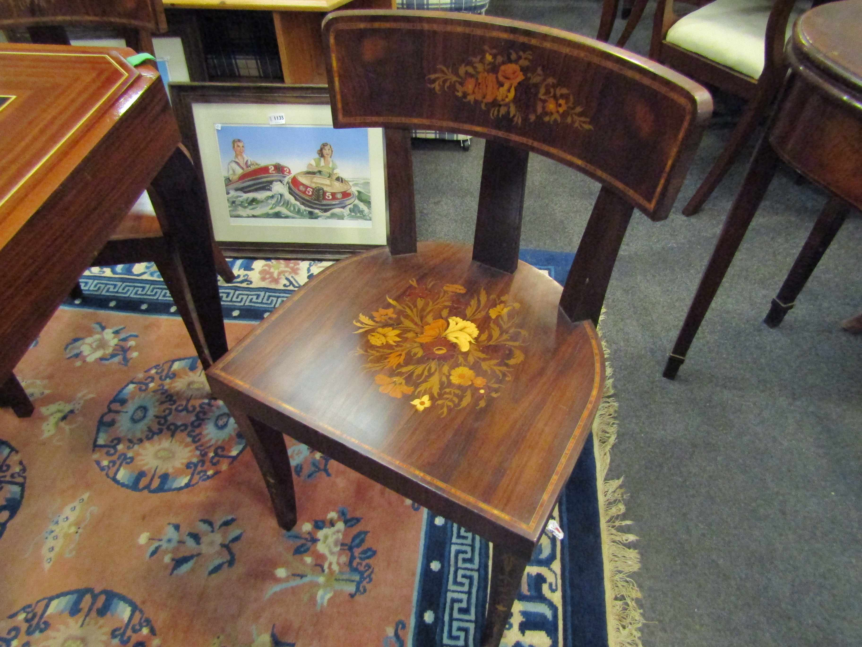 An Italian Indian rosewood games table with marquetry floral inlay. - Image 6 of 6