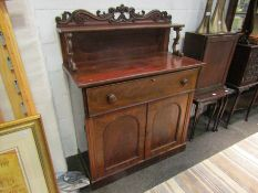 A mahogany secretaire with raised gallery back, single drawer over two doors, 140cm tall,