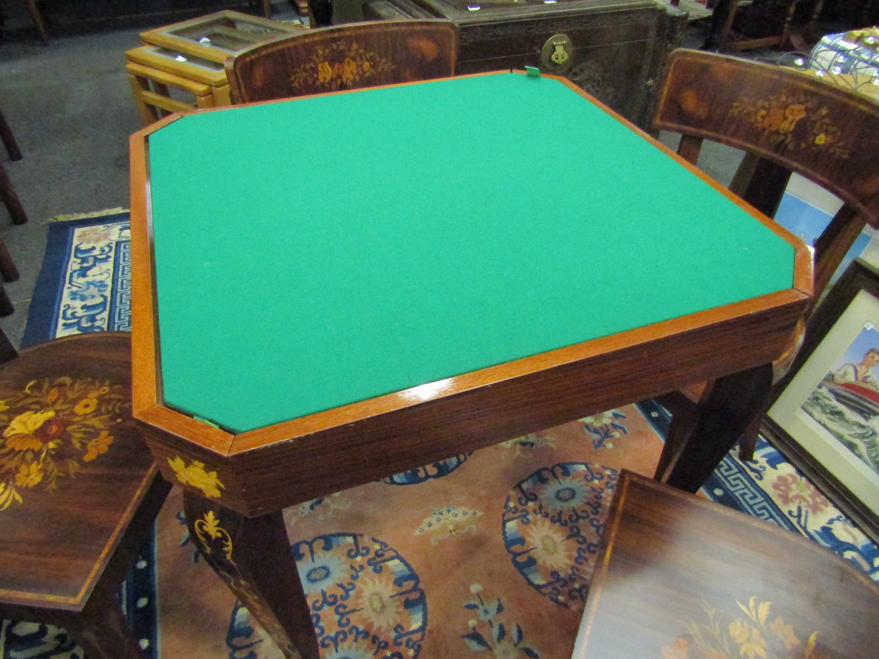 An Italian Indian rosewood games table with marquetry floral inlay. - Image 3 of 6